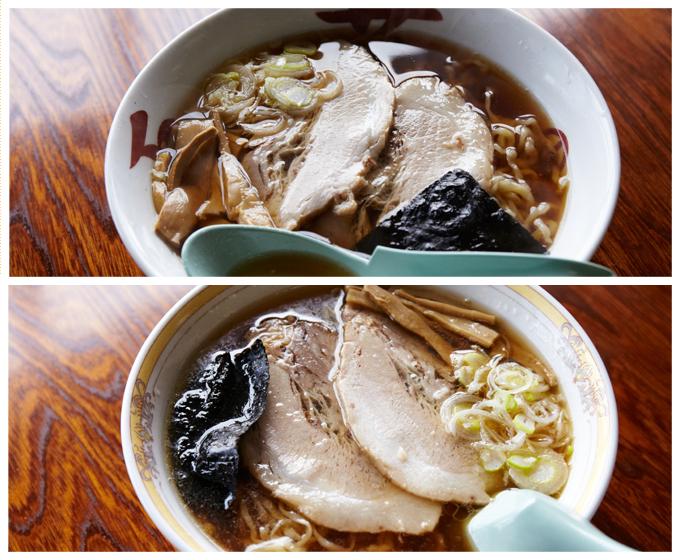 基本の中華そばは、あっさり(上)とこってり(下)の2種類。丼が違い、こってりは脂多め。